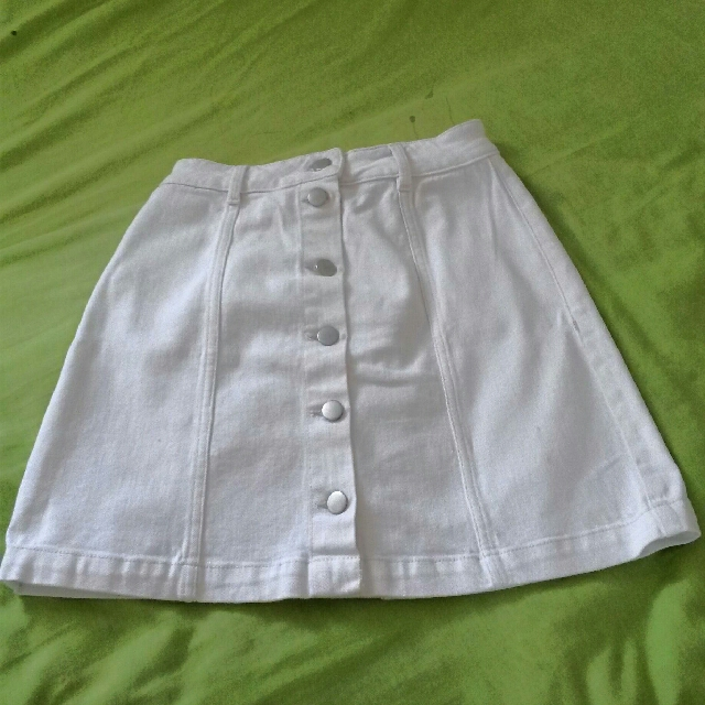 H&M 70's White Denim Skirt