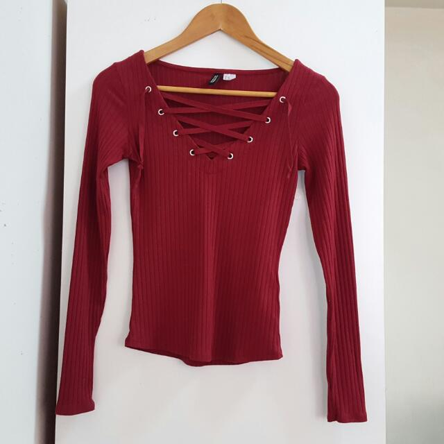 H M Maroon Ribbed Knit Lace Up Top d15f7940e