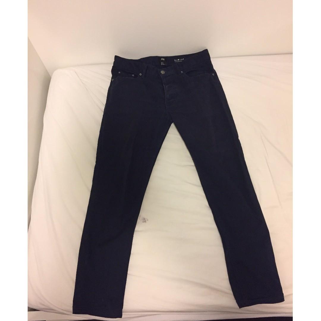 HnM Navy Cotton Long Pants Size 29
