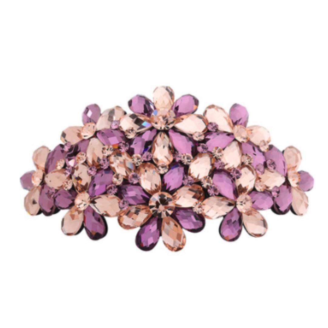 Korean Handmade Hair Spring Clip Floral Crystal