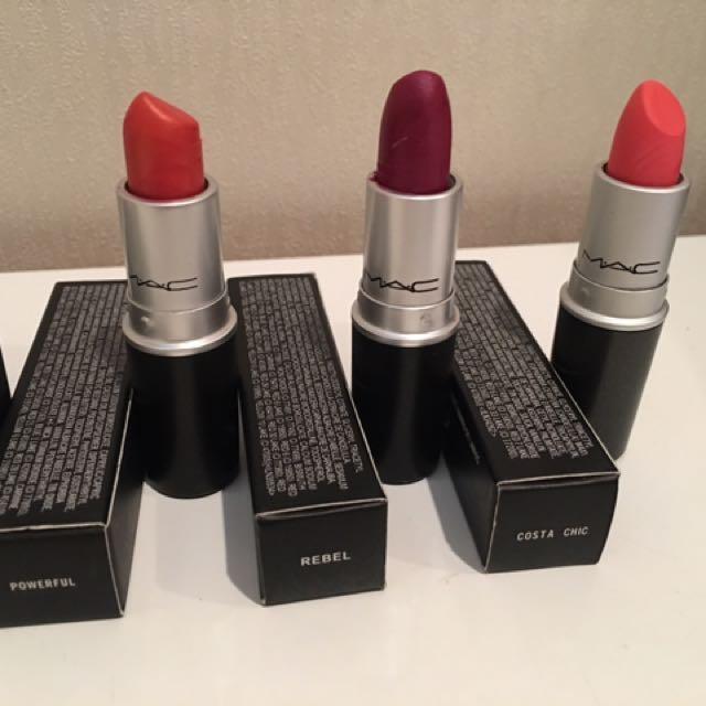 M.A.C make up lipsticks