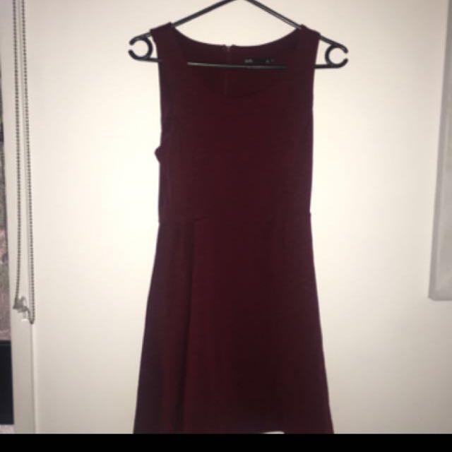 Maroon Dotti Dress