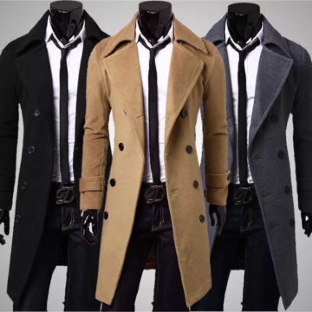 Men's Winter Trench coat Double Breasted Overcoat Long Jacket