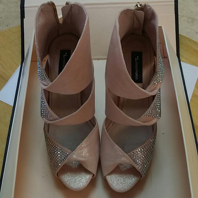 💰Momoco膚色鑽華麗高跟鞋
