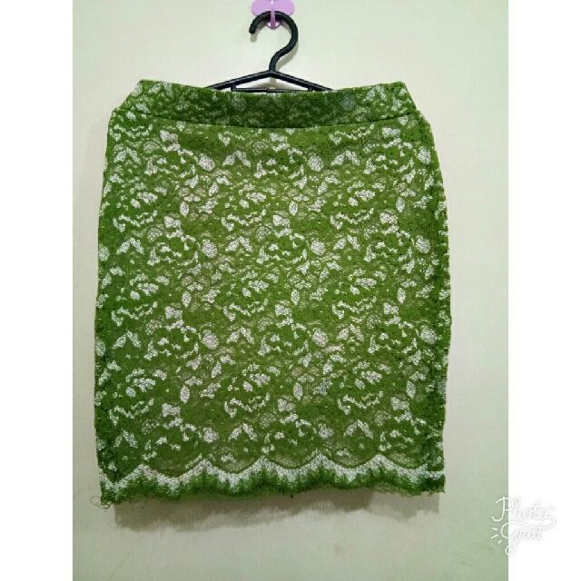 mossy green skirt