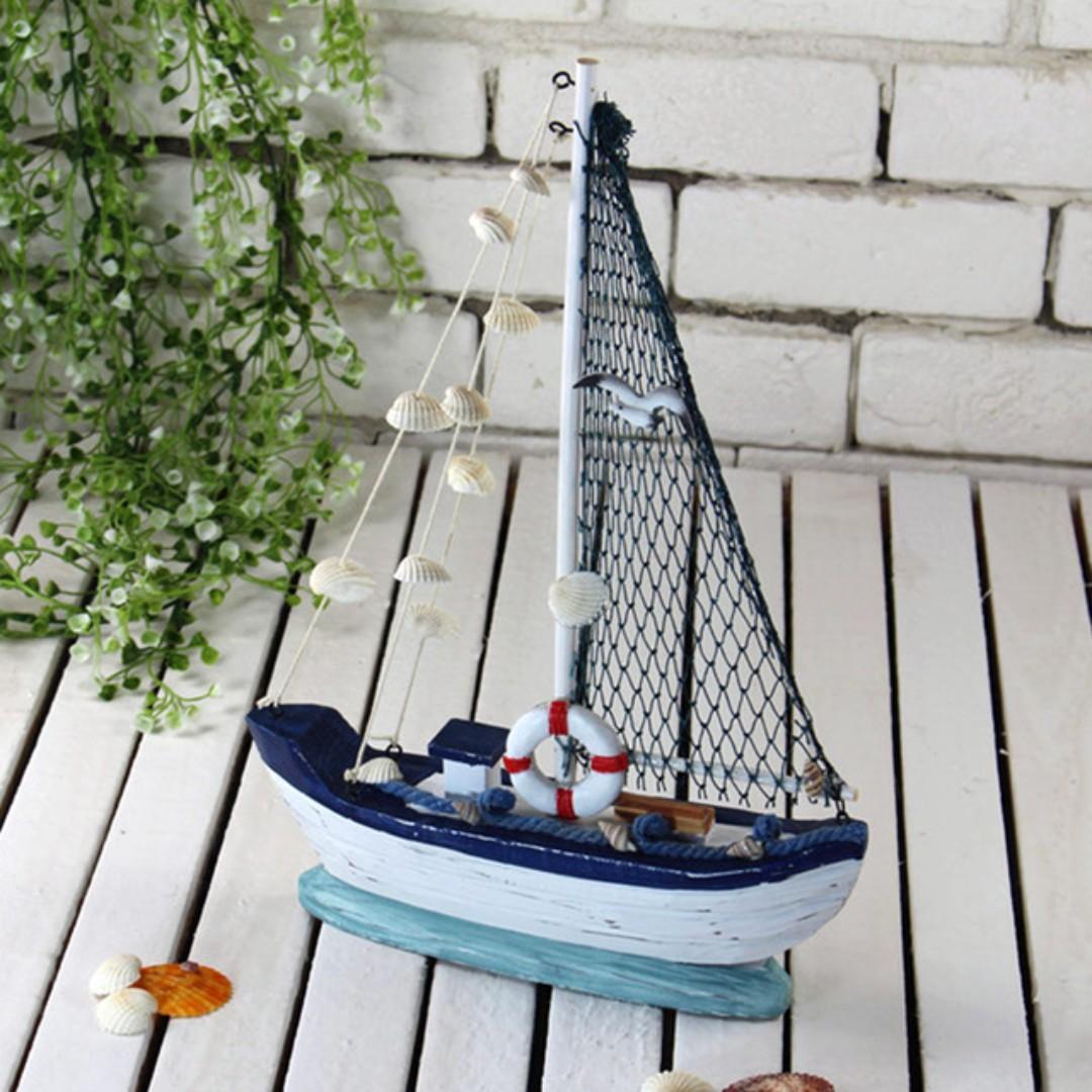 Medium Size Nautical Decor Ship Wood Boat Craft Mediterranean Style