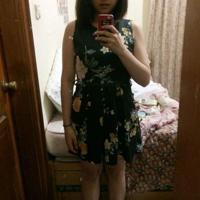 New Look Black Floral Dress