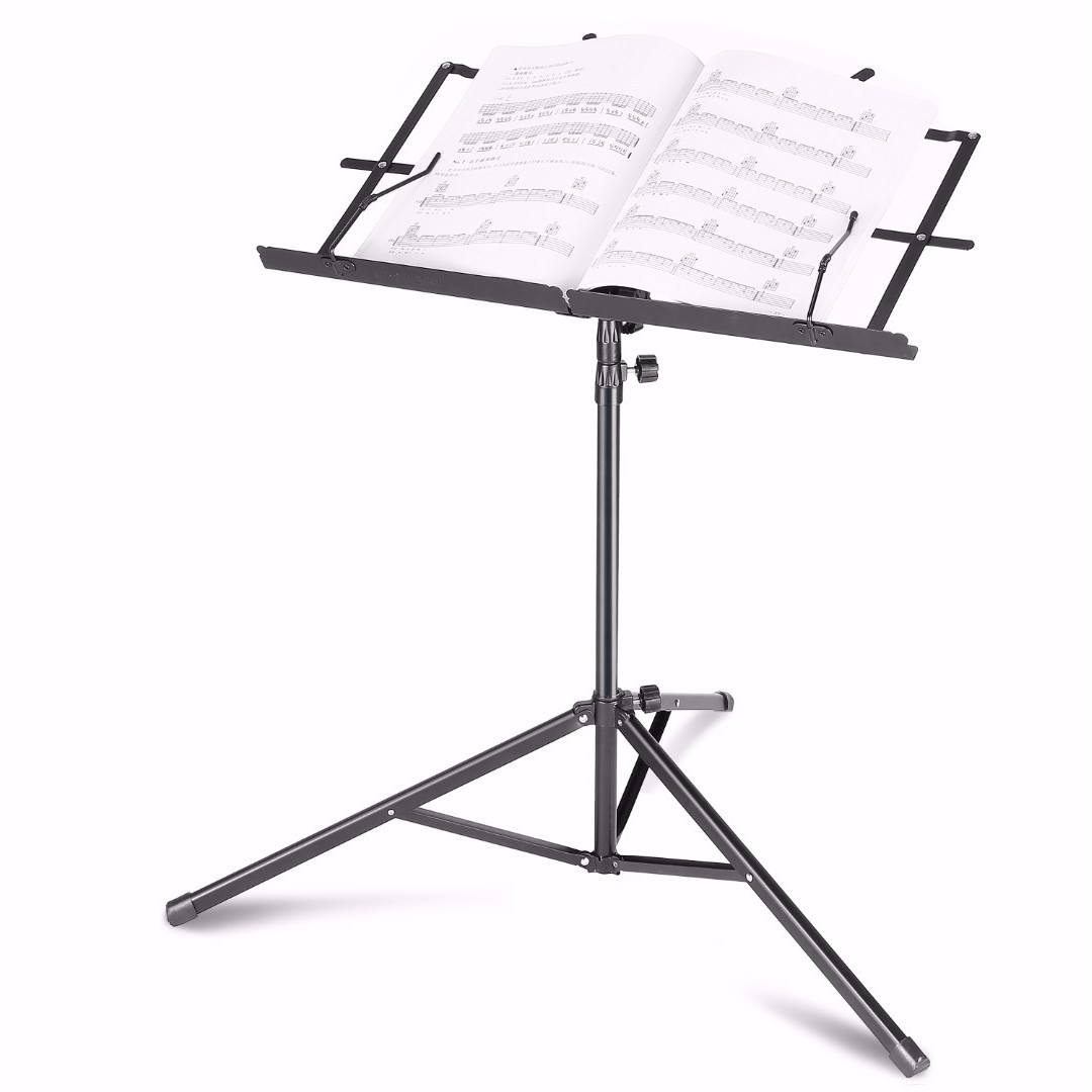 """REPRICED Neewer Folding Lyric/Book Stand  17.7""""-42""""/45cm-107cm Height Adjustable Music sheet Stand  with Solid Tripod Base, Angle Adjustable Bookplate & Waterproof Carrying Bag - Iron / Black"""