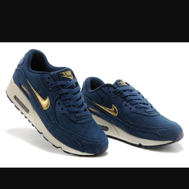 the latest bc80b b82c2 Nike Air Max 90 Dark Blue Gold, Women s Fashion, Shoes on Carousell