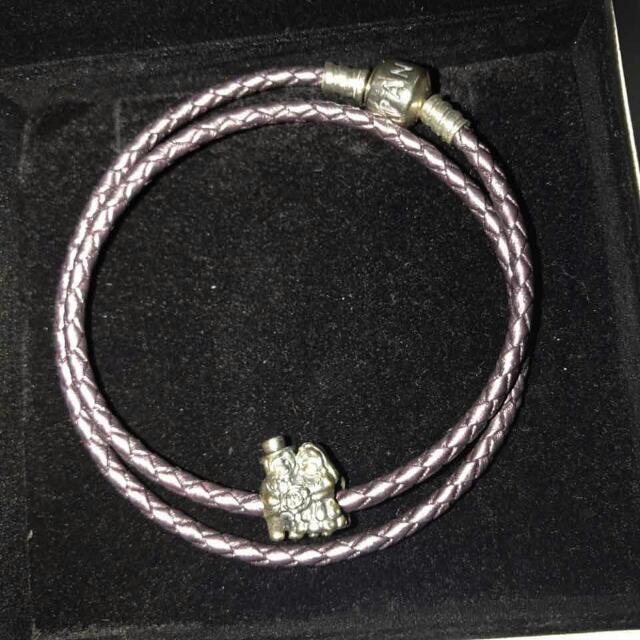 Pandora 17 cm double woven purple bracelet with wedding charm