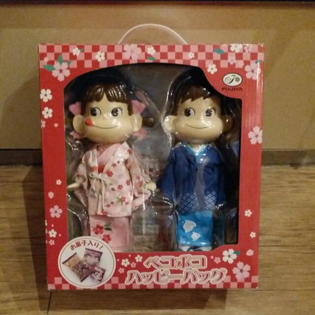 日本不二家牛奶妹peko牛奶弟和服大型公仔娃娃組