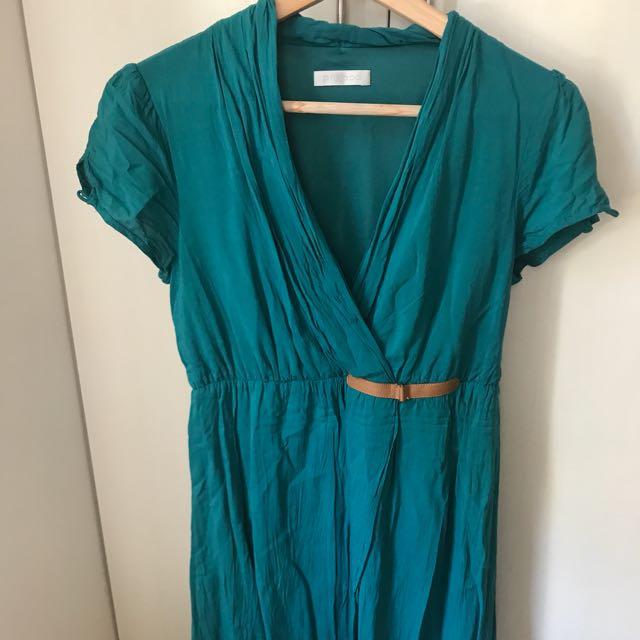 Promod Teal Crossover Dress