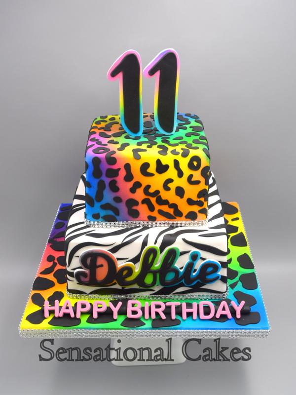 Phenomenal Rainbow Animal Print Three Tier Birthday Cake In Singapore 3Dcake Funny Birthday Cards Online Aeocydamsfinfo