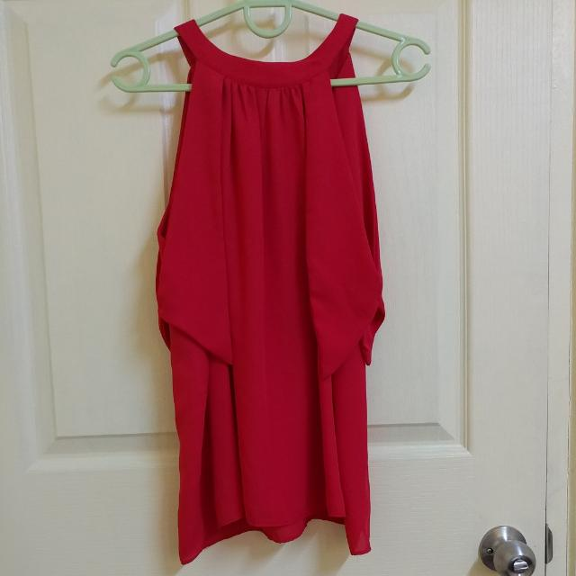Red Chiffon Sleeveless With Shoulder Cutout