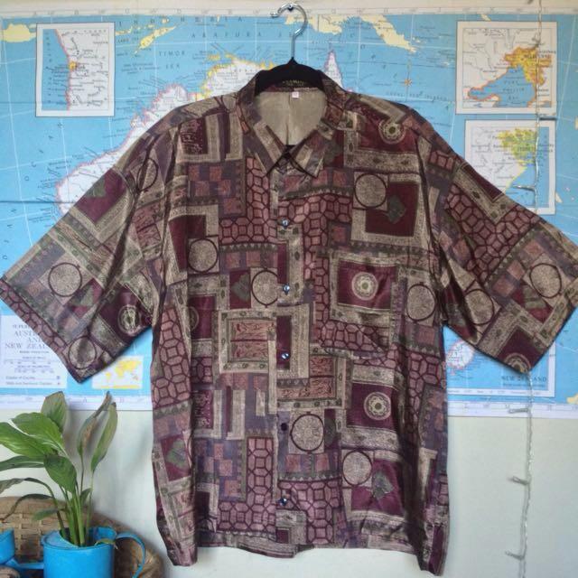 Retro Patterned 100% Thai Silk Shirt