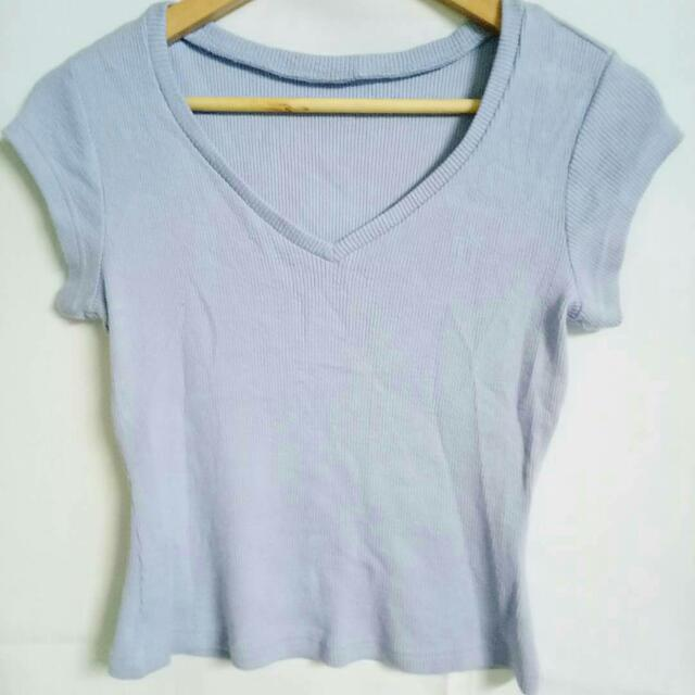 Ribbed Baby Blue Cropped Shirt