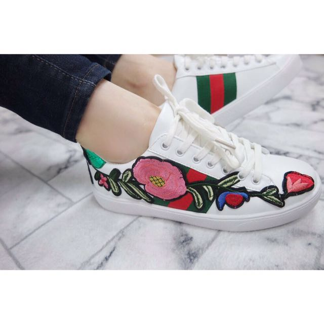 Rose Embroidery Sneakers Gucci White Floral Shoes a16c07a6fde9