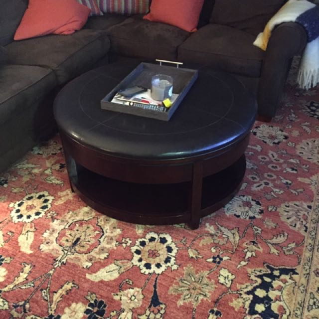 Round Coffee Table With Wheels And Faux Leather Top