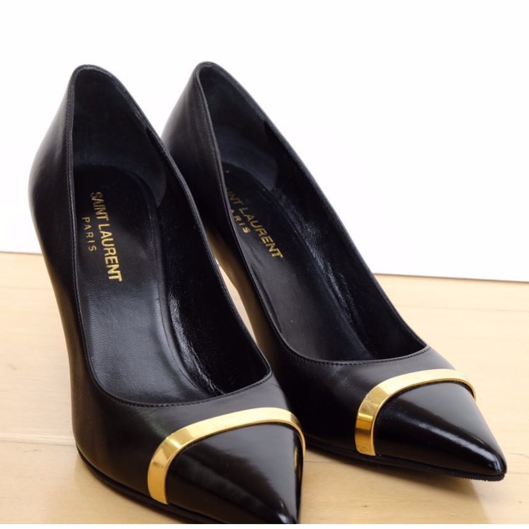 Saint Laurent Paris cap toe pump with gold bar detail (as seen on Selena Gomez)