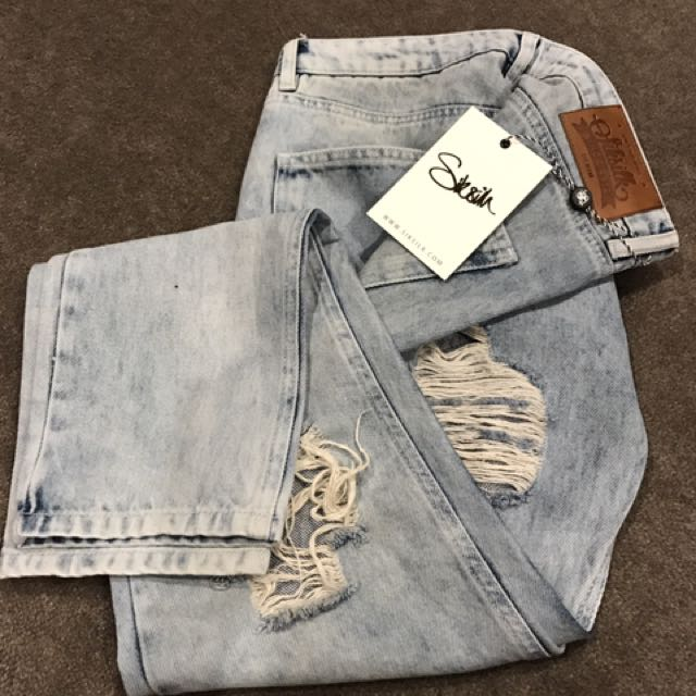 Siksilk Sik Silk Vintage Acid Wash Denim Jeans W 30-32""
