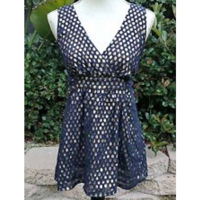 Silk French Connection Navy & Gold Polka Dot Blouse Top S