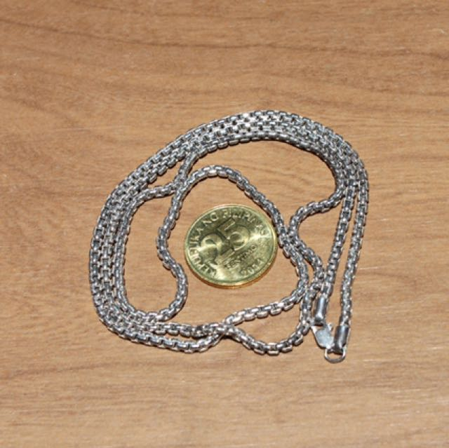 Sterling Silver .925 Chain 2.5MM Rounded Box Oxidized 24""