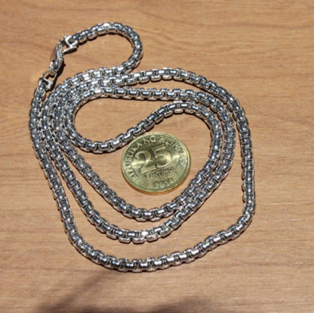 Sterling Silver .925 Chain 3.6MM Rounded Box Oxidized 24""