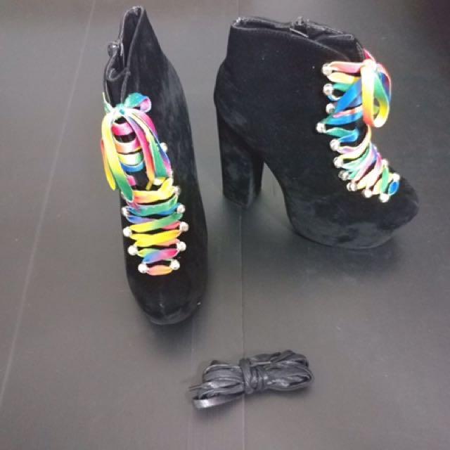 c72cfffd85a UNIF Inspired Hellbound Platform Heels (Black Suede)