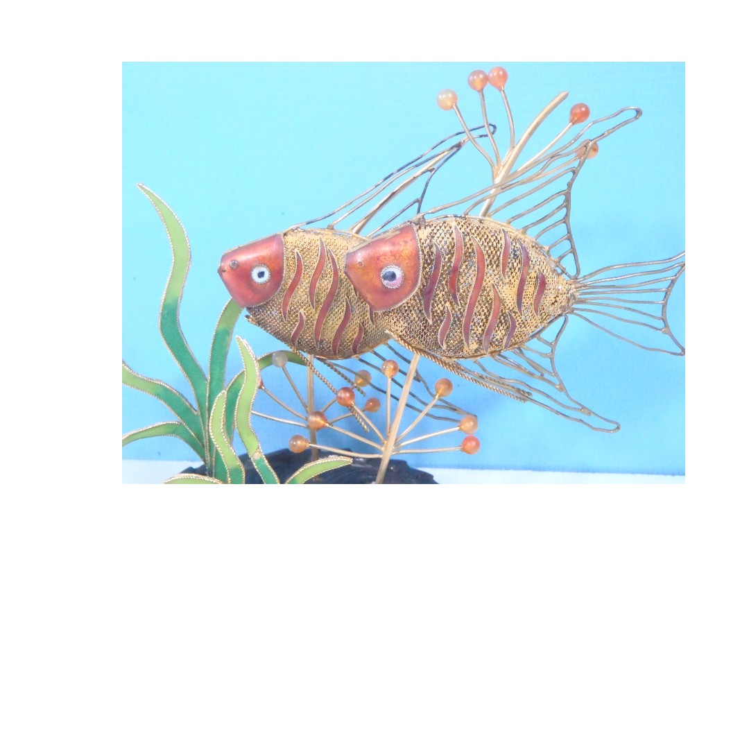 Vintage fine cloisonne hand made woven gold wire fishes stand circa ...