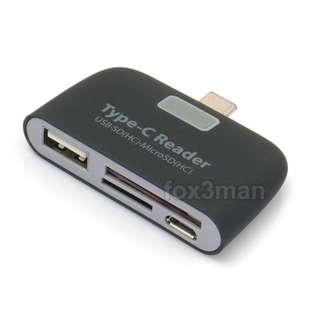 USB 3.1 Type C Smart Card Reader 多功能手機讀卡器 可讀記憶棒 micro SD卡