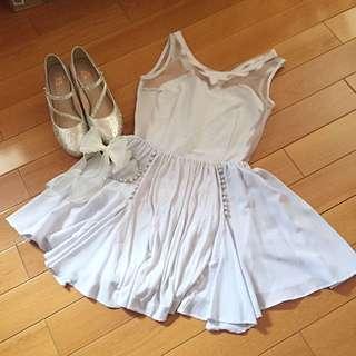 日本正品 Snidel 粉紫透膚蕾絲刺繡洋裝