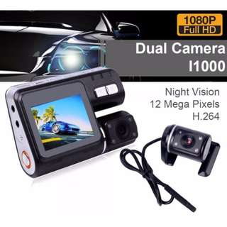 Dual Car HD Dashcam 360° Font & Rear Camera