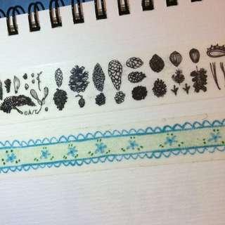 裸子植物 藍色蕾絲小花 紙膠帶