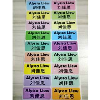 Multi - Colour Large Size Name Stickers