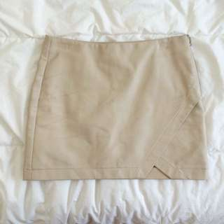 Forever 21 Nude Faux Leather Mini Skirt With Slit