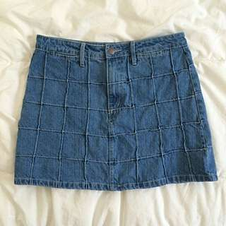 Never Worn Denim Skirt With Square Detailing
