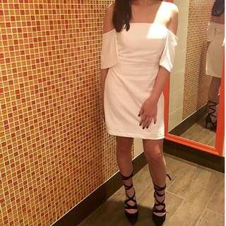 White Off The Shoulder Crepe Dress