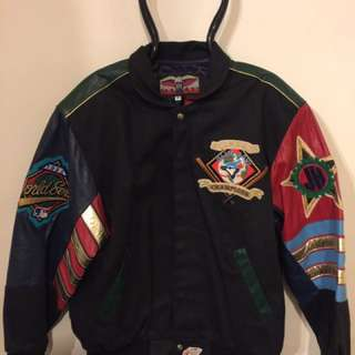 "Toronto Blue Jays World Champion 92 / 93 Back to Back World Series"" leather bomber jacket designed by Jeff Hamilton"
