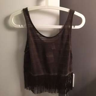 H&M Olive Crop Top Size XS