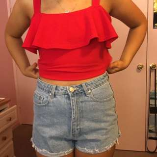 Red Off The Shoulder Frill Top