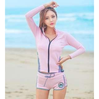 四件式泳裝 Roxanne Bikini 粉紅條紋防曬長袖泳衣衝浪衣 M~XL