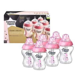 Tommee Tippee Closer To Nature 260ml/9oz Decorated Bottle Pink