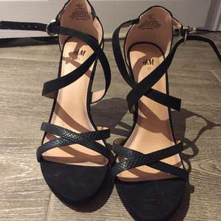 Price Reduced! Black Strappy Heels