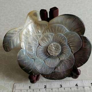 雕刻花貝殼 擺件 約4吋半 連木座