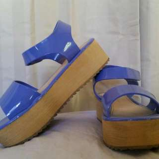 Purple And Wooden Sandals