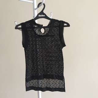 Black Sleeveless Lacey Top