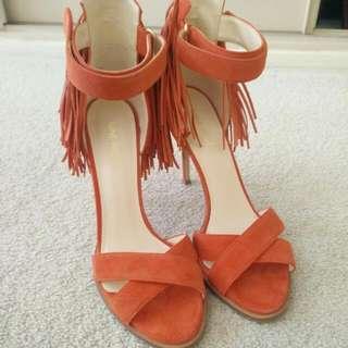 Orange-red Nine West Leather Heels