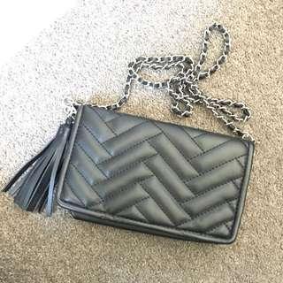 Zara black chevron chain bag
