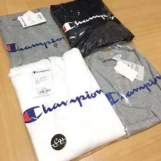 Instock-  Champion Logo Tee & Reverse Weave Hoodie With Pockets