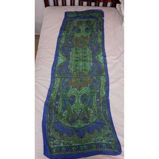 【全新】印度喀什米爾絲巾 (藍色/黃花) - 印度帶回